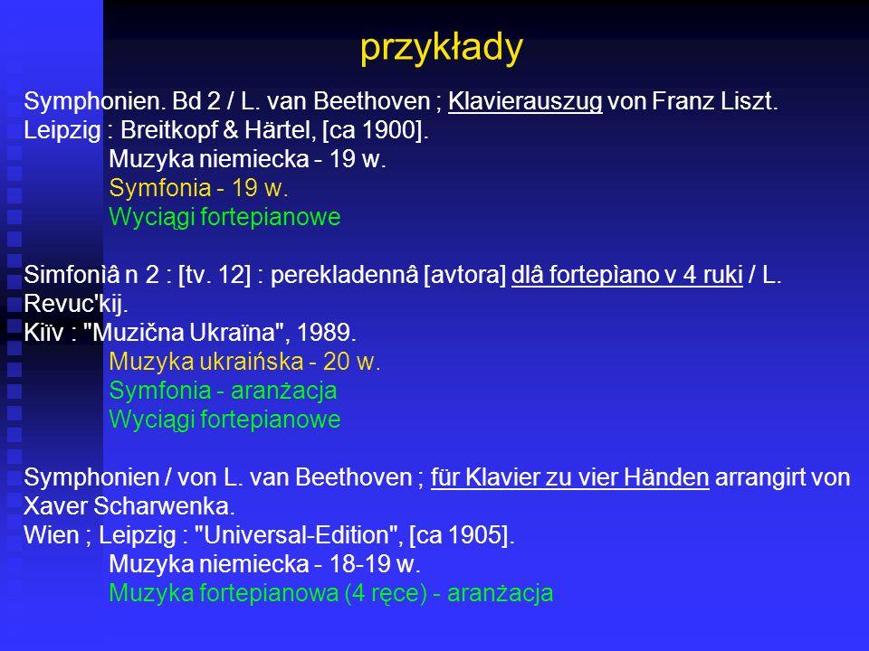 przykłady Symphonien. Bd 2 / L. van Beethoven ; Klavierauszug von Franz Liszt. Leipzig : Breitkopf & Härtel, [ca 1900].